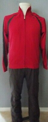 REEBOK Gray & Raspberry Track Set Jacket & Pants Size Medium