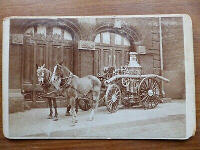 antique cabinet card photo 1870s horse drawn fireman steam pumper hampden pa old
