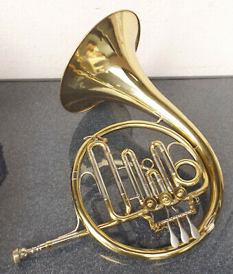 """Old Brass French Horn Blassinstrument """" Weltklang """" with Mouthpiece in Case"""