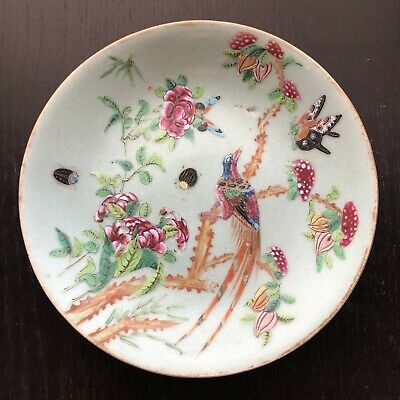 Antique Chinese Famille Rose on Celadon Round Porcelain Bird Butterfly Art Plate