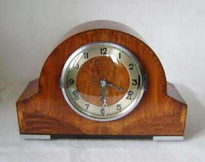 Art Deco Inlaid Walnut FHS Three Train Mantle Clock Westminster Whittington etc.