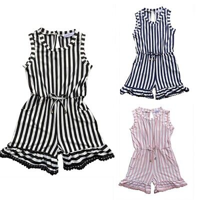 Kids Girls Striped Party Outfit Playsuits Jumpsuits Romper Shorts Summer 4-14