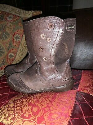 Clarks Infant Girls Brown Leather Gore-tex Boots Size 6F
