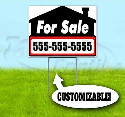 PROPERTY FOR SALE CUSTOM PHONE 18x24 Yard Sign WITH STAKE Bandit USA REALTY