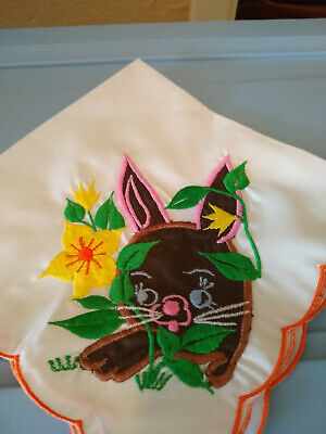 Round Easter Tablecloth and Napkins - Basket with Chocolate Bunnies - Handmade