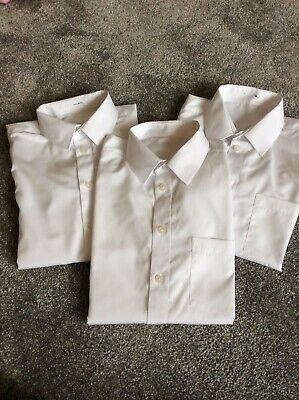 3 X Girls White School Short sleeve shirts Age 11  Used Once Or Twice ex cond