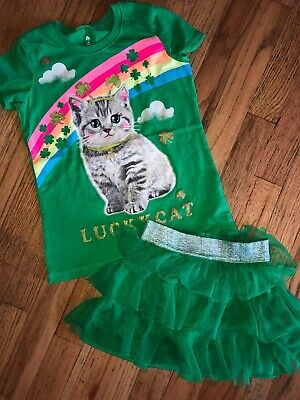 Girls St Pattys DAY Shirt Skirt Set 2 Pc Size 6/7 GUC