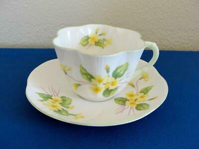 Shelley Fine Bone China England Cup Saucer Primrose Flower Series