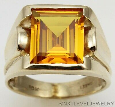 Antique SIGNED 1920's Art Deco LARGE Golden Sapphire 10k Solid Gold Men's Ring