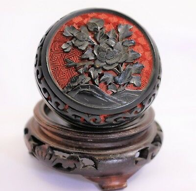 Chinese Cinnabar over Brass Antique Round Lidded Trinket Box