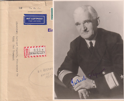 Signed photo and letter of Konteradmiral Gerhard Wagner