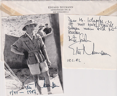 "Signed photo & note Luft Oberst Eduard ""Edu"" Neumann JG 27-Afrika-DKiG recipient"