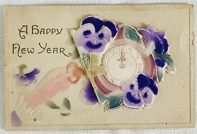 Antique Embossed New Year Postcard by TIC - Fold-out Clock Card