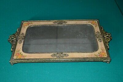 Vintage Dresser Tray Gold Filigree Guilloche Rectangle Mirror Vanity Velvet Set