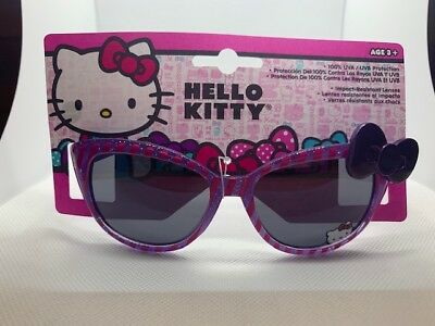 NEW Girls kids Hello Kitty Sanrio Pink & Purple striped with bow  Sunglasses  09
