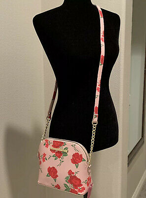 Authentic Betsey Johnson Dome Crossbody Floral Purse Pink Roses New! Chain Strap