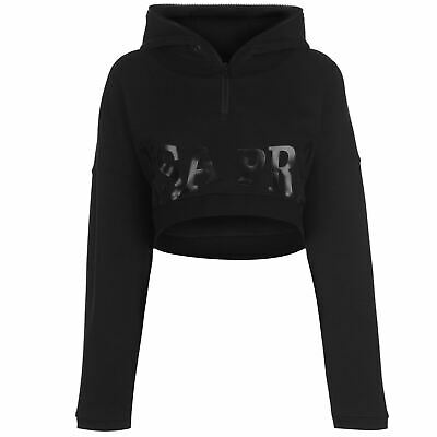 USA Pro Little Mix Crop Hoodie Ladies Long Sleeves Top Sweater Outerwear Black