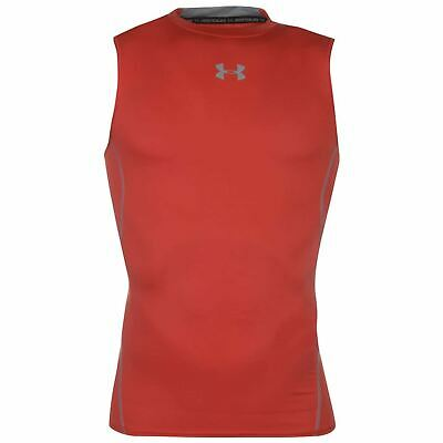 Under Armour HeatGear Baselayer Shirt Mens Red Football Soccer Compression Top