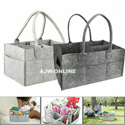 Baby Diaper Organizer Caddy Felt Changing Nappy Kids Storage Carrier Bag Grey UK