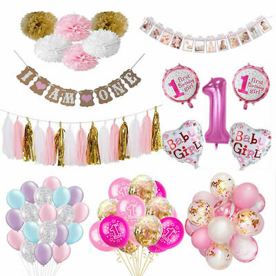 Baby Shower Foil Balloon Set Banner Bunting Baby Girls 1st Birthday Party Pink