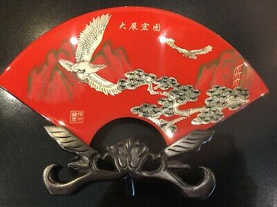 Vintage Tianyu Chinese Resin Fan Ornament With Stand And Box