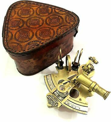 Antique Look Brass Nautical Sextant 3 Kelvin & Hughes Leather Box Christmas Gift