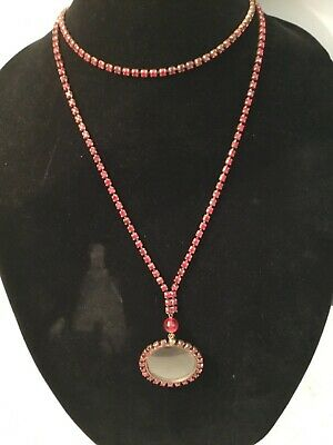 Rare Antique Victorian Red Ruby Crystal Victorian Magnifying Glass Necklace Nr