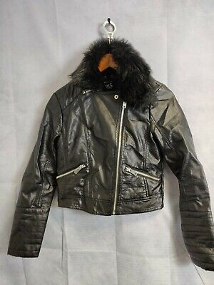 Girls New Look 915 Leather Black Jacket Coat Fur Lined Collar Size Age 12-13