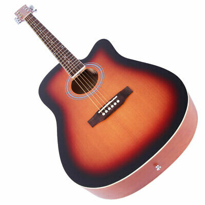 Electro Folk Guitar 41 Inch Full-Size Cutaway 6-Steel Strings Beginner Sunset