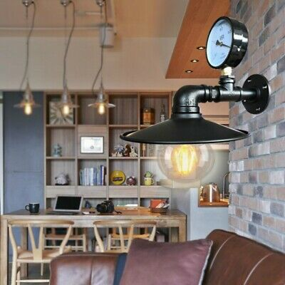Iron Rust Water Pipe Wall Lamp Loft Industrial Fixture E27 Light Sconce Home Art