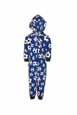 Camille Childrens Blue Supersoft Fleece Football All In One