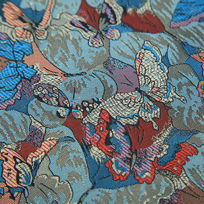 Chinese Butterfly Damask Fabric Qipao Materials Jacquard Brocade Cloth Soft Cosy