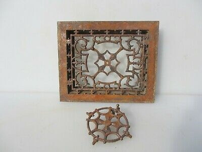 """Victorian Iron Air Brick Vent Grille Grate Architectural Antique Old 10x12"""""""