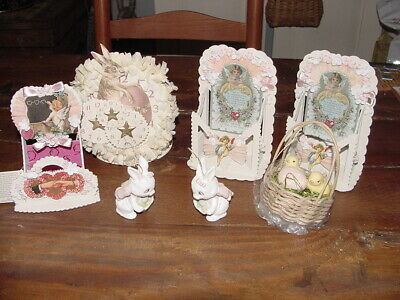 7 pc Lot of Bethany Lowe Easter & Valentines Plus Other Bunny Ornaments,Basket