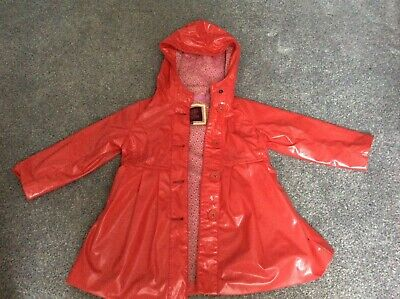Ted Baker Baby Girls Jacket Age 18-24 Months Red shiny raincoat Hooded
