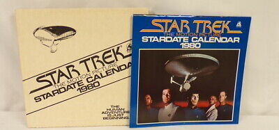 ORIGINAL Vintage 1980 Star Trek Stardate Motion Picture Calendar w/ mailing box
