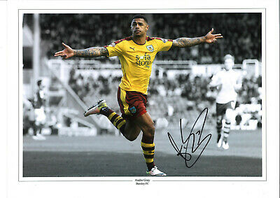 Andre Gray Burnley Signed 16x12 inch hand signed authentic football photo SS063