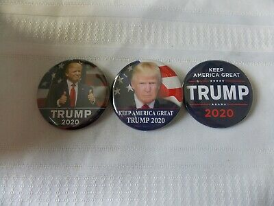 """3 Donald Trump 2020 Election President Campaign Buttons Pins 2 1/4"""" #N84"""