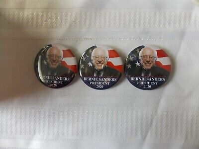 """3 Bernie Sanders 2020 Election President Campaign Buttons Pins 2 1/4"""" #N81"""