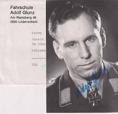 Signed photo Luft ace Oberleutnant Adolf Glunz-71 victories-Knights Cross/Oakle