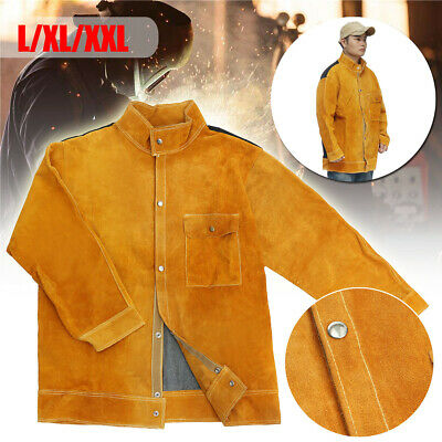 AU Leather Welding Jacket Coat Protective Clothing Apparel Suit Welder Safety ε