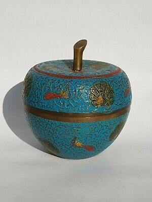 Chinese Cloisonne Blue Enamel Peacock Design Humidor Jar Box Very Nice