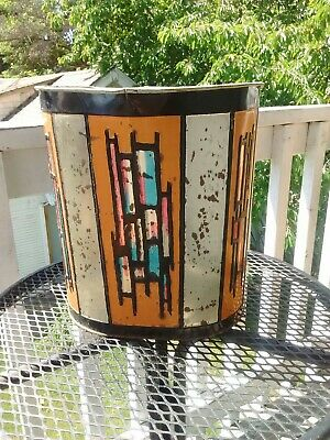 Mid Century Modern Brutalist Trash Can Very Cool unique!!!