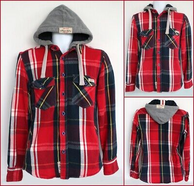 BRAVE SOUL Checked hooded SHIRT MENS Size S Blue Red Grey pockets Plaid