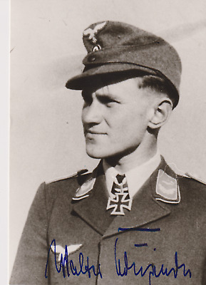 Signed photo Luft ace Major Walter Krupinski-197 victories-Knights Cross/Oakleav