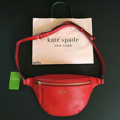 Kate Spade New York Jackson Pebble Leather Belt Bag In Hot Chili NWT Authentic