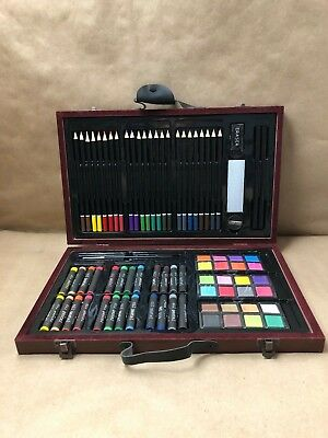 ZagGit 83pc Deluxe Art Creativity Set Supplies Brushes Pencils in Wooden Case