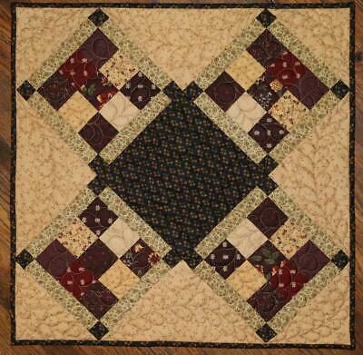 Quilted  Handmade Table Topper, Patchwork Fabrics, Quilted Wall Hanging 22x22