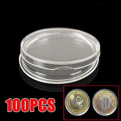 100 Coin Collect Boxes Clear Plastic Coin Capsules Holder Storage Cases 25mm