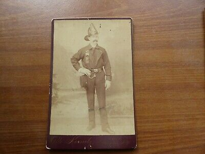 antique cabinet card photo fireman in uniform w/ ribbon & cigar ulster county ny